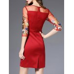 best Semi Sheer Flower Embroidered Pencil Dress