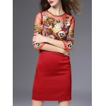 Semi Sheer Flower Embroidered Pencil Dress deal