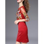 Semi Sheer Flower Embroidered Pencil Dress for sale