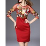 cheap Semi Sheer Flower Embroidered Pencil Dress