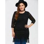 cheap Lace Openwork Fringed Longline Top