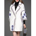 cheap Ethnic Embroidered Trim Cashmere Coat