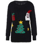 best Flocked Tree and Gift Pattern Christmas Sweater