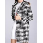 cheap Lapel Single Breasted Houndstooth Coat