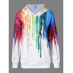 Buy Paint Drip Drawstring Hoodie 3XL WHITE