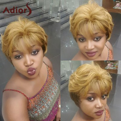 Adiors Short Neat Bang Shaggy Natural Straight Synthetic Wig