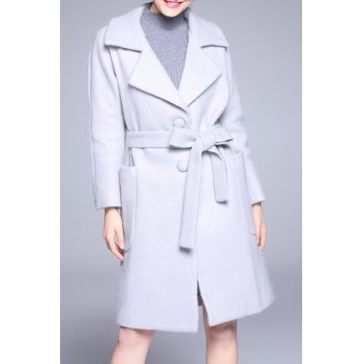 Wool Blend Batwing Sleeve Coat With Belt