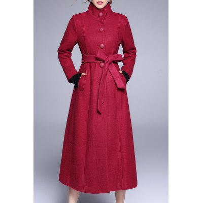 Button Up Long Skirted Wool Coat