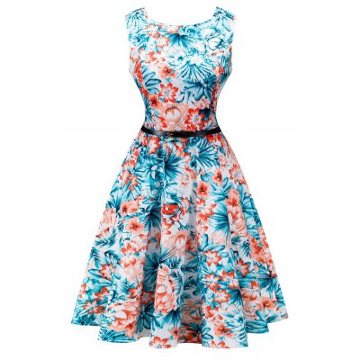 Vintage Blossom Print Sleeveless Dress