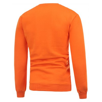 Hat Print Crew Neck Flocking Christmas Orange Sweatshirt