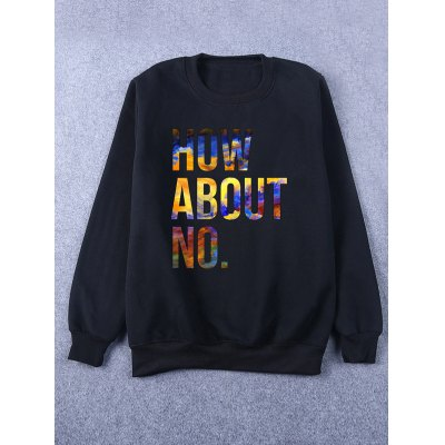 Rib Cuff Crew Neck Flocking Graphic Sweatshirt