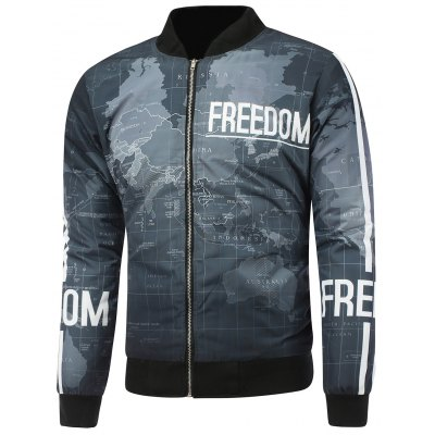 Map Print Stand Collar Zip Up Padded Jacket
