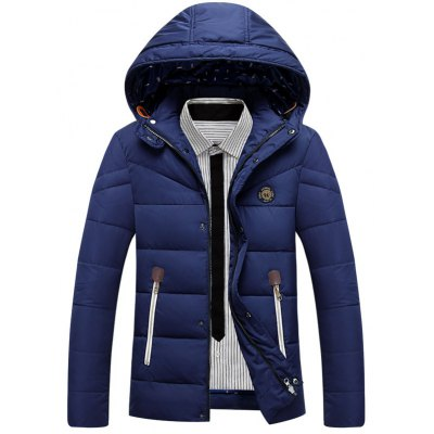 Zip Up Patch Design Padded Hooded Jacket