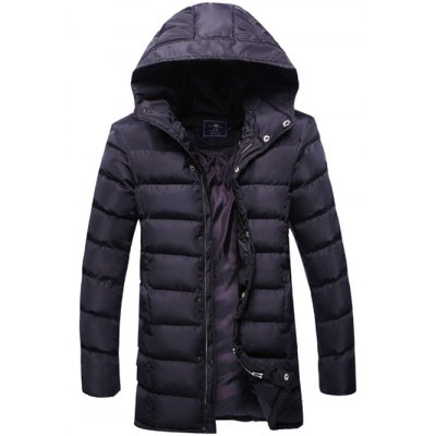 Hooded Zip Up Thicken Selvedge Embellished Padded Coat