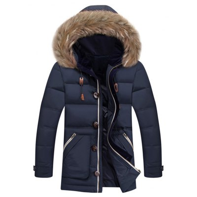 Zipper Pocket Quilted Coat with Fur Trim Hood