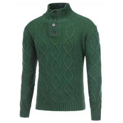 Fisherman Knitted Stand Collar Button Pullover Sweater