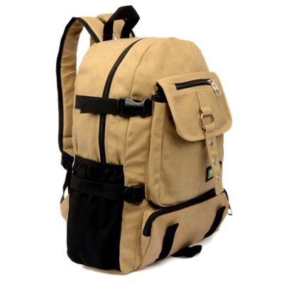 Colour Splicing Eyelets Pockets Backpack
