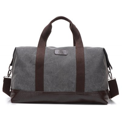 PU Leather Insert Canvas Weekend Bag