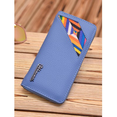 Colour Block Geometric Pattern Textured Leather Wallet