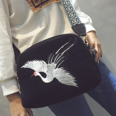 Embroidery Zipper Crossbody Bag