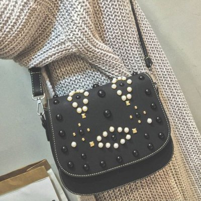 Rivets Bead Magnetic Closure Crossbody Bag