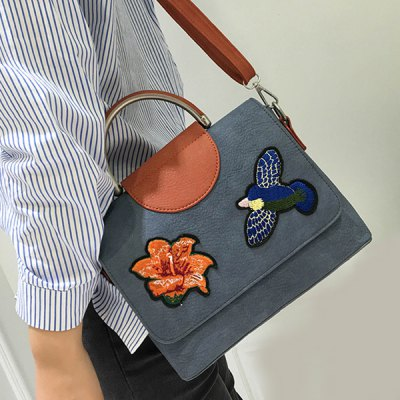 Color Block Embroidery Crossbody Bag