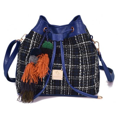 Tweed Drawstring Crossbody Bag