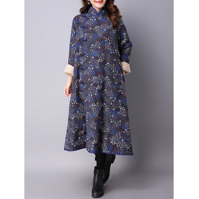 Tiny Floral Printed Fleece Long Chinese Coat