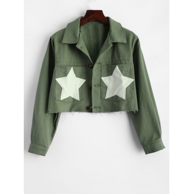 Star Frayed Hem Short Cropped Jacket