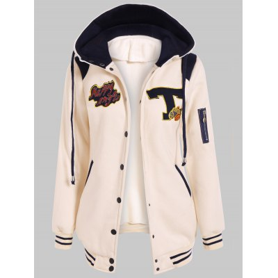 Button Up Hooded Patched Jacket
