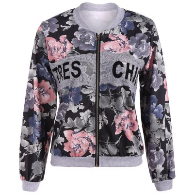 Floral Print Lace Insert Jacket