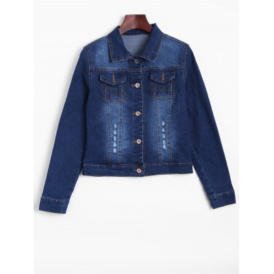 Ripped Faded Cropped Denim Jacket