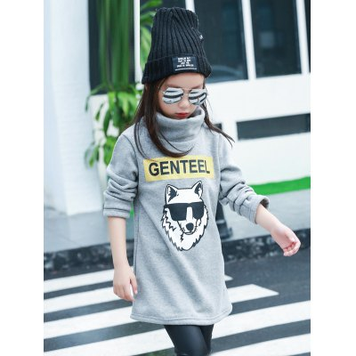 Girls Long Sleeve Wolf Print T-Shirt