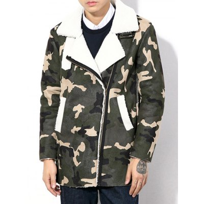 Plus Size Thicken Zip Up Camouflage Sherpa Coat