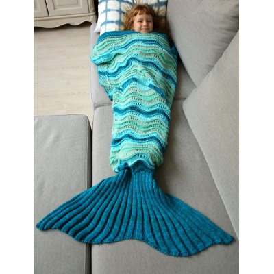 Knitted Open Work Color Splicing Mermaid Blanket For Kid