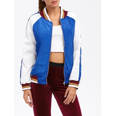Colour Spliced Striped Zip Up Baseball Jacket
