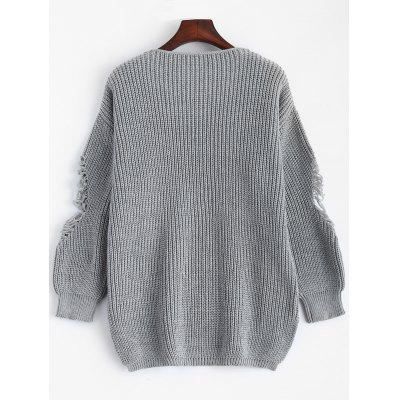Pullover Ripped V Neck SweaterSweaters &amp; Cardigans<br>Pullover Ripped V Neck Sweater<br><br>Collar: V-Neck<br>Material: Acrylic<br>Package Contents: 1 x Sweater<br>Pattern Type: Others<br>Season: Fall, Spring, Winter<br>Sleeve Length: Full<br>Style: Casual<br>Type: Pullovers<br>Weight: 0.5400kg