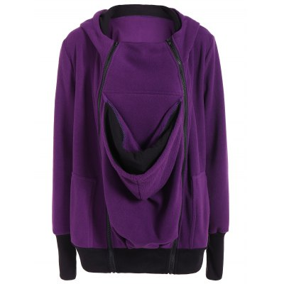 Inclined Zipper Baby Kangaroo Purple Hoodie
