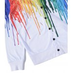 3D Colorful Splatter Paint Print V Neck Single Breasted Jacket for sale