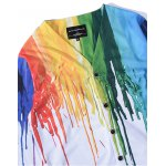 3D Colorful Splatter Paint Print V Neck Single Breasted Jacket deal