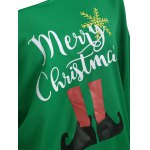 Skew Neck Christmas Graphic Green Sweatshirt for sale
