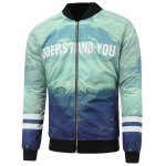 Scenic Print Zippered Padded Jacket
