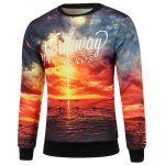 cheap Scenic Print Crew Neck Sweatshirt and Jogger Pants Twinset