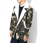 cheap Plus Size Thicken Zip Up Camouflage Sherpa Coat