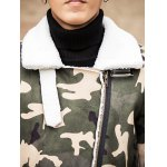 best Plus Size Thicken Zip Up Camouflage Sherpa Coat
