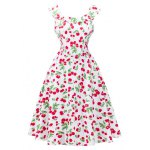 Retro Style Cherry Printing Dress