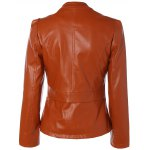cheap Slim Fit Faux Leather Jacket