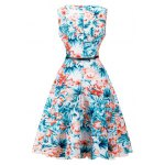 cheap Vintage Blossom Print Sleeveless Dress