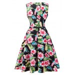 cheap Floral Print Sleeveless Retro Style Dress
