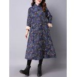 cheap Tiny Floral Printed Fleece Long Chinese Coat